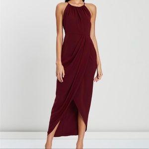 Shona Joy HighNeck Ruched Cocktail Dress Burgundy